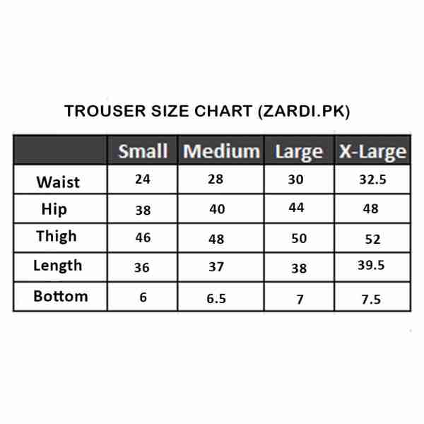 KAIN TROUSERS Size Chart1