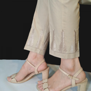 Beige Embroided Trouser - Pure Cotton