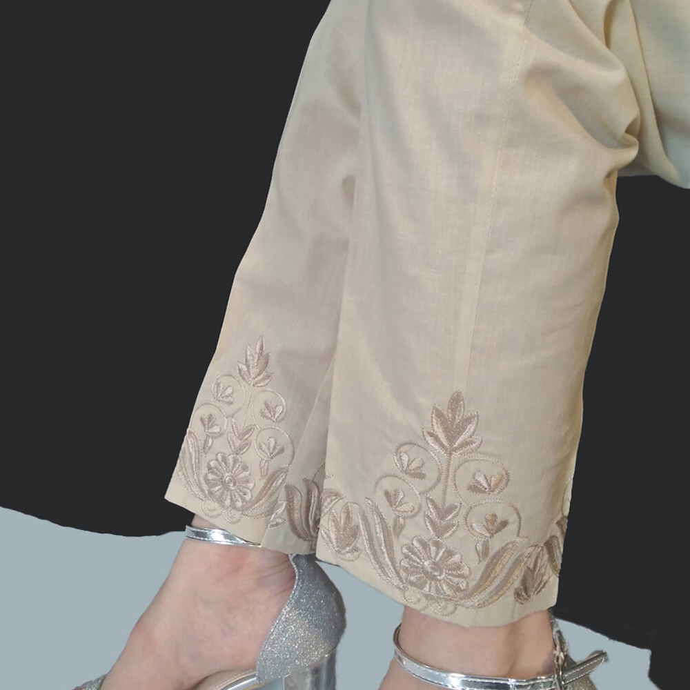 Floral Embroided - Beige Cotton Trouser