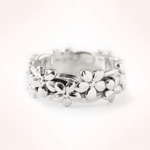 Flower Metal Ring - Silver