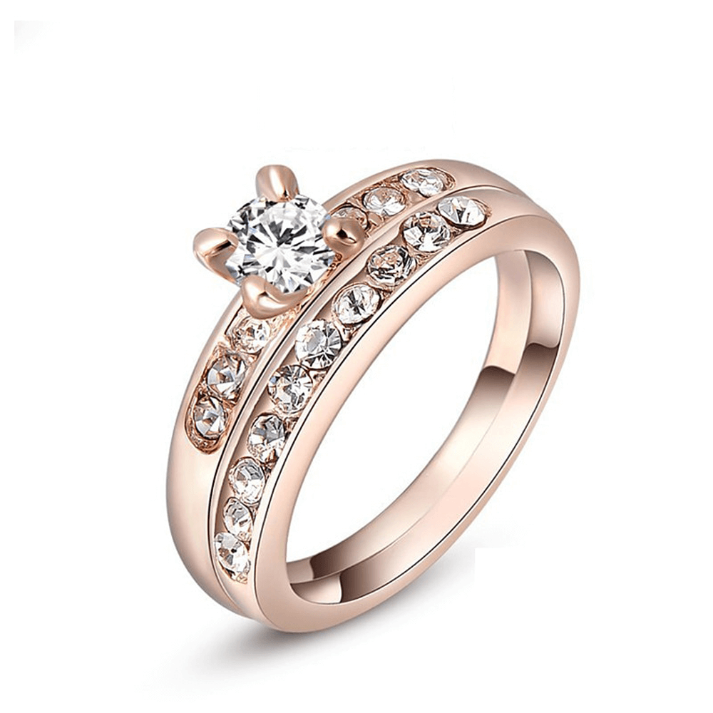 2 pc Ring Set For Women - Rose Gold