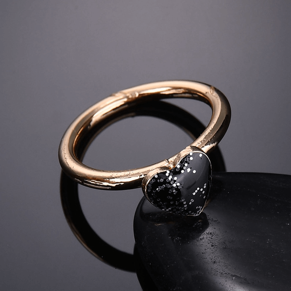 Heart Ring For Her - Gold With Black Heart