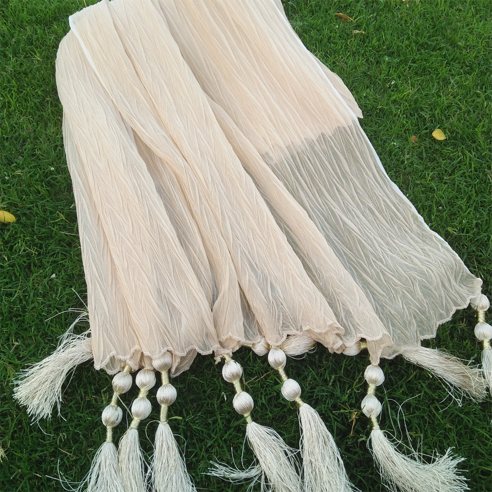 Crush Dupatta With Bottom Tassels 1