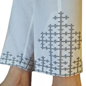 Cross Stitch Embroided Trouser - Pure Cotton - Black White