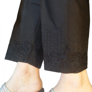 Embroided Trouser Cotton Pant For Women - Black