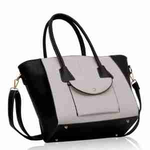 Black White Front Pocket Tote Handbag