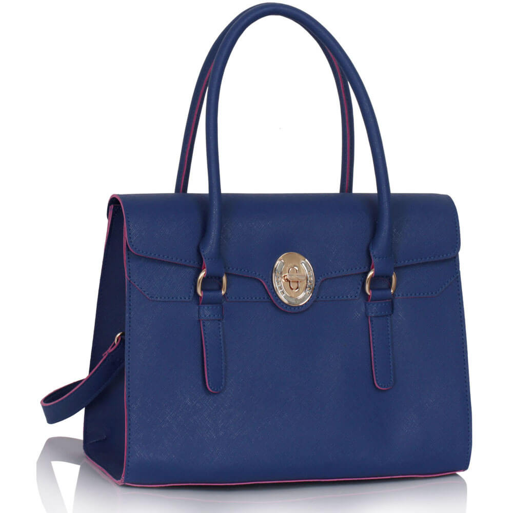 Navy Twist Lock Grab Shoulder Bag