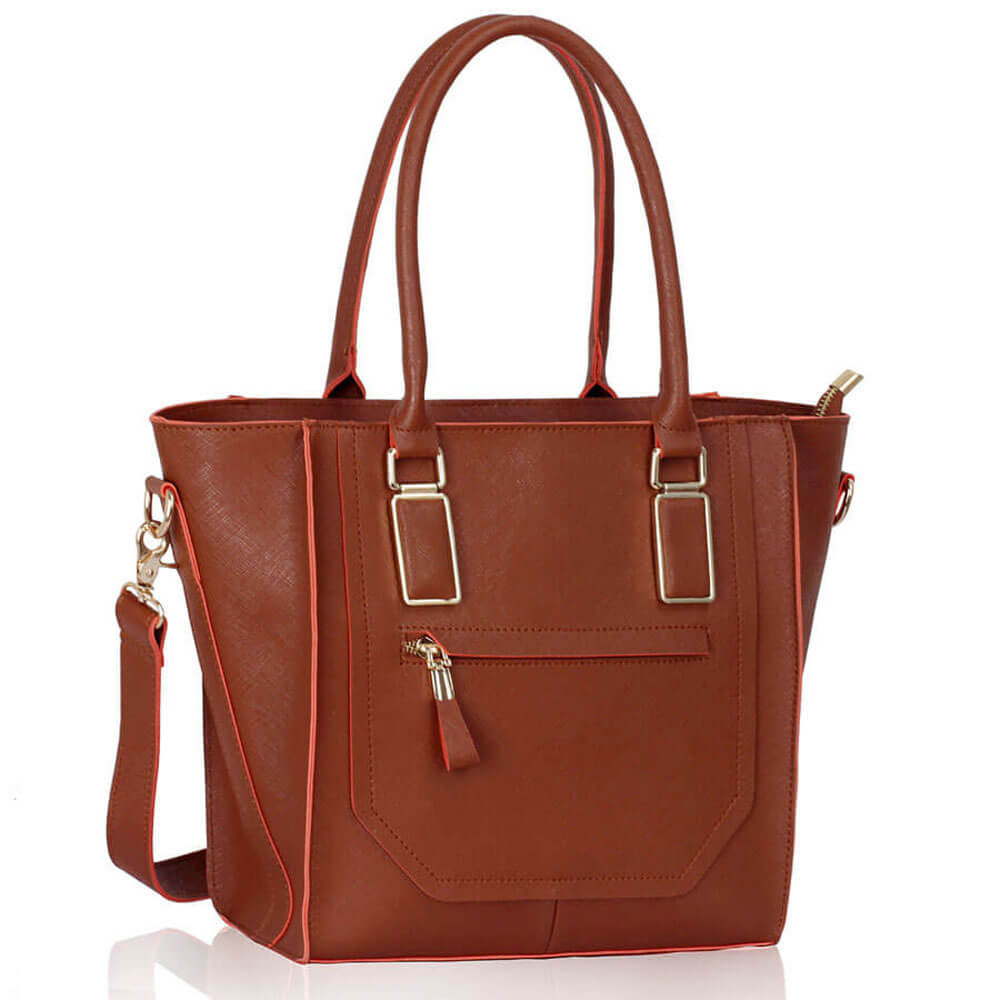 Brown Tote Bag With Long Strap