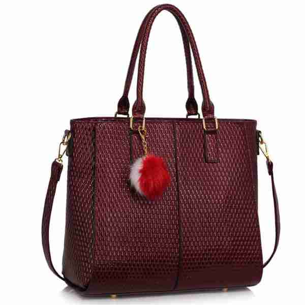 LS00512 – Burgundy Tote Grab Handbag With Faux Fur Charm_1_