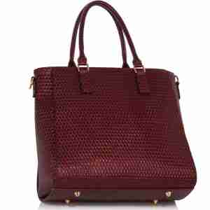 Burgundy Tote Grab Handbag With Faux Fur Charm