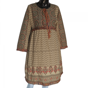 Beige Cotton Lawn Printed Kurti With Taseel Lace