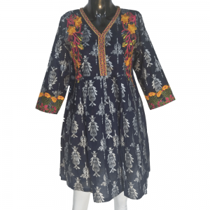 Block Print - Embroided Frock Blue
