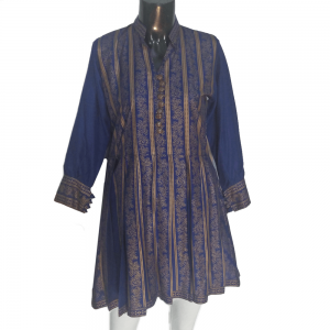 Block Print Kurti For Ladies With Button Design Blue