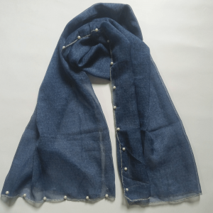 Blue Chiffon Scarf With 2 Sided Pearl