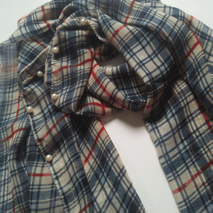 Check Print Chiffon Scarf With 2 Sides Pearl