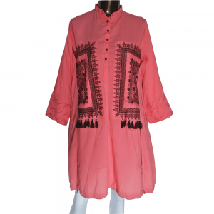 Embroided Kurti For Women - Peach