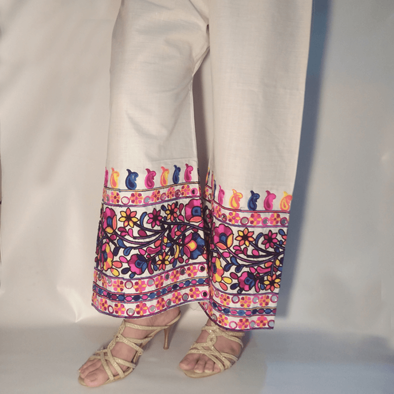 Multi Embroided With Mirror Work Palazzo Trouser White