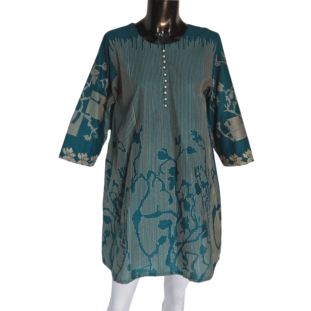 Sea Green - Embroided Kurti For Ladies With Pearls