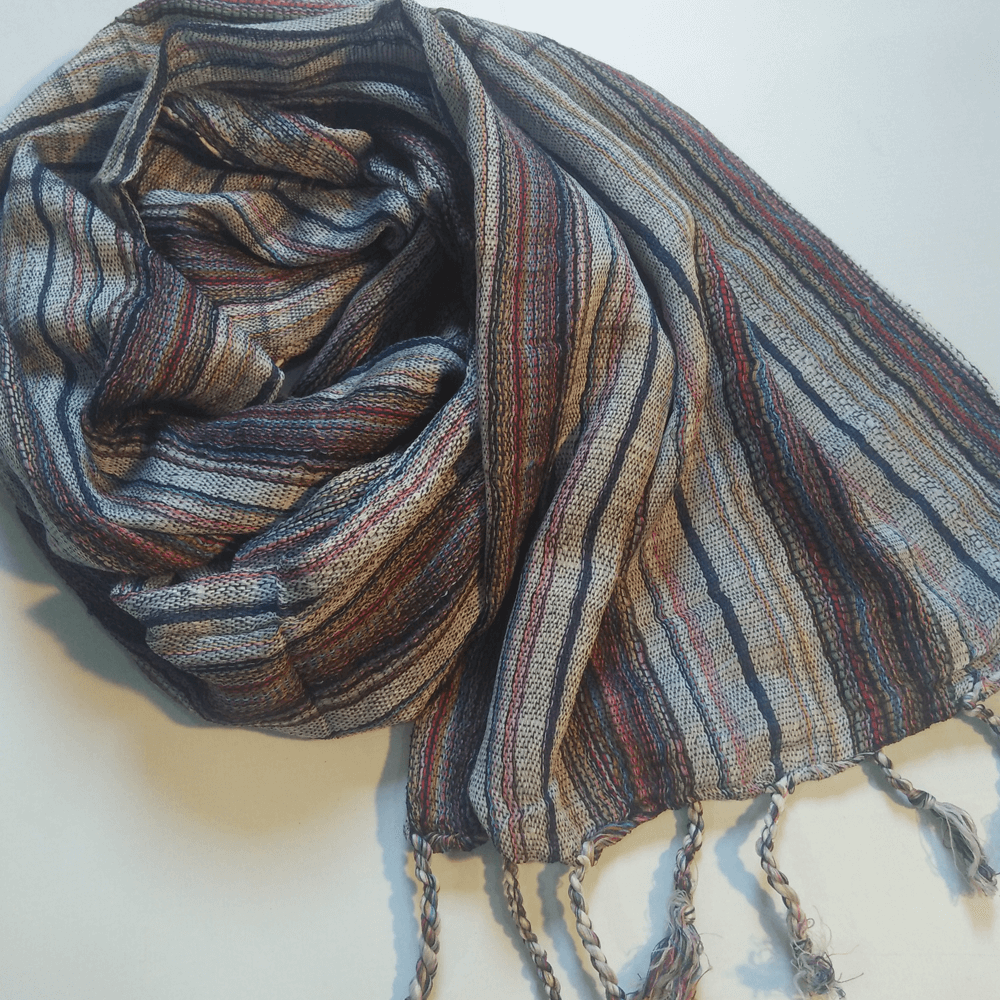 Striped Cotton Scarf Stole With Bottom Tassels