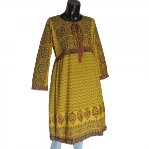 Yellow Cotton Lawn Printed Kurti With Taseel Lace