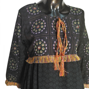 Black Cotton Lawn Printed Kurti With Taseel Lace