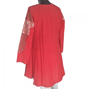 Embroided Linen Kurti Red
