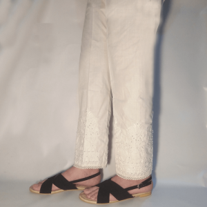 Embroided Trouser Pant With Beads White