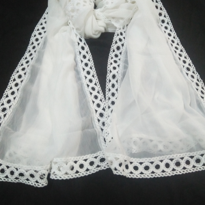 White - Chiffon Dupatta With Lace On all 4 Sides