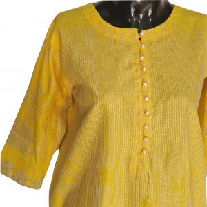 Yellow - Embroided Kurti For Ladies With Pearls