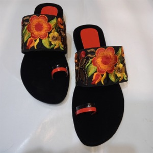 Black Floral Embroidered Flat Sandals 1