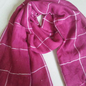 Check Print Shimmer Scarf
