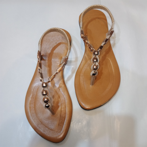 Cream Suede Look Ladies Flat Sandal 1