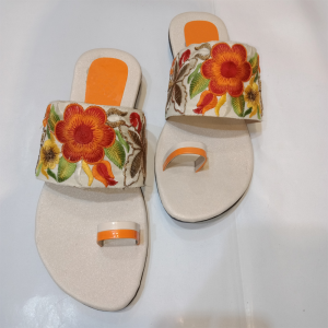 Floral Embroidered Flat Sandals 1