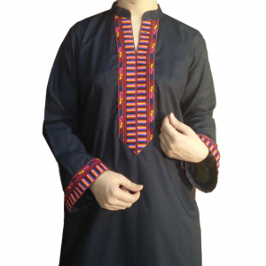 2 Piece - Stitched - Kurti With Trouser - Navy -With Embroided Lace