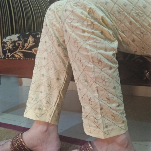 Beige Full Embroided Trouser Pant 2