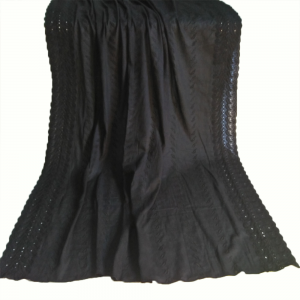 Black Full Embroided Cotton Lawn Summer Shawl 1