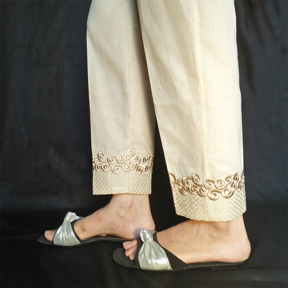 Embroided Pure Cotton Beige 1
