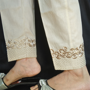Embroided Pure Cotton Beige 2
