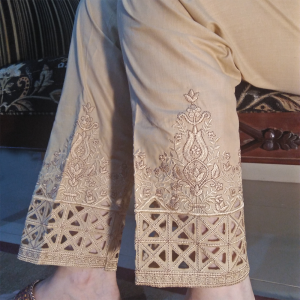 Embroided Trouser Pant For Ladies Beige 1
