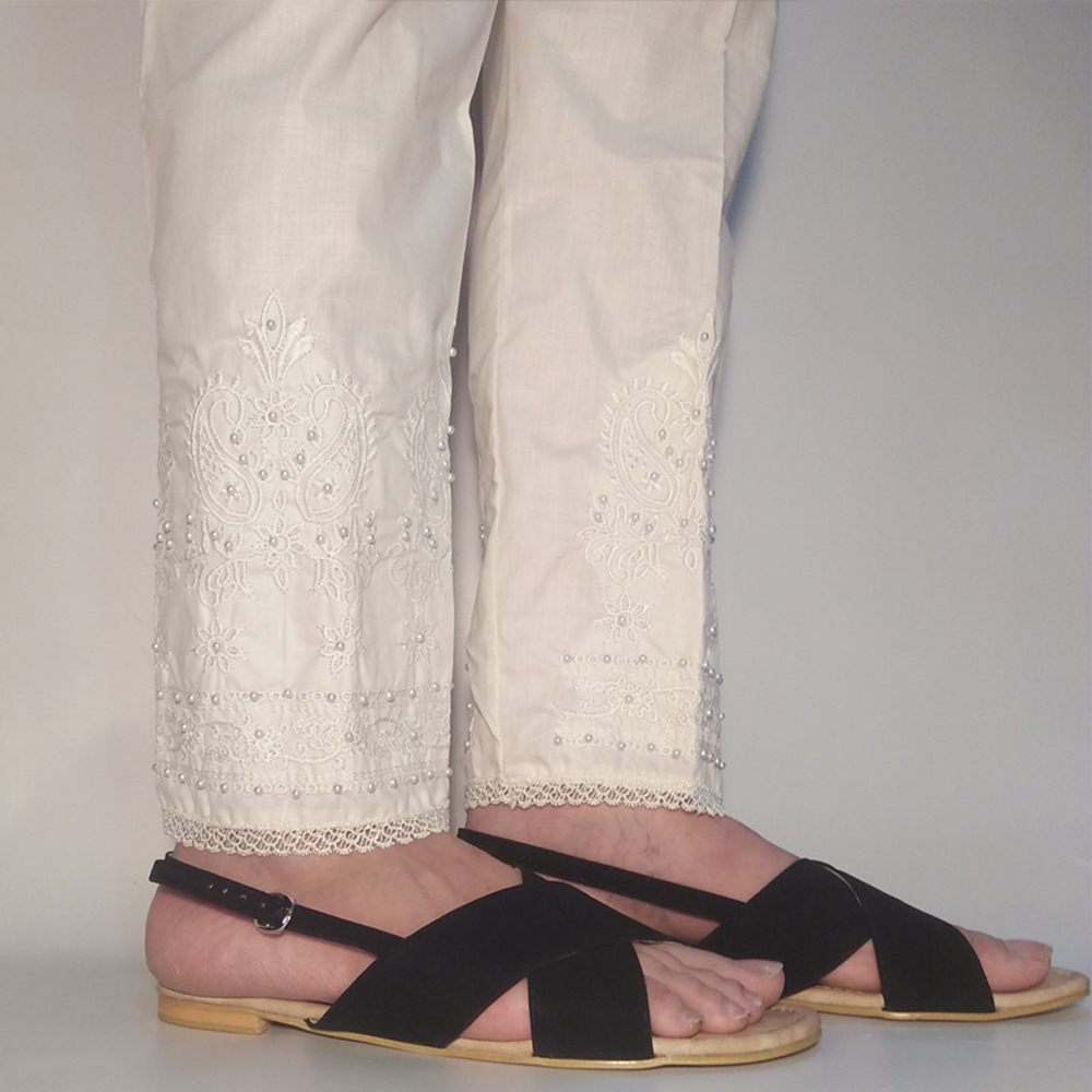 Off White Embroided Trouser 1