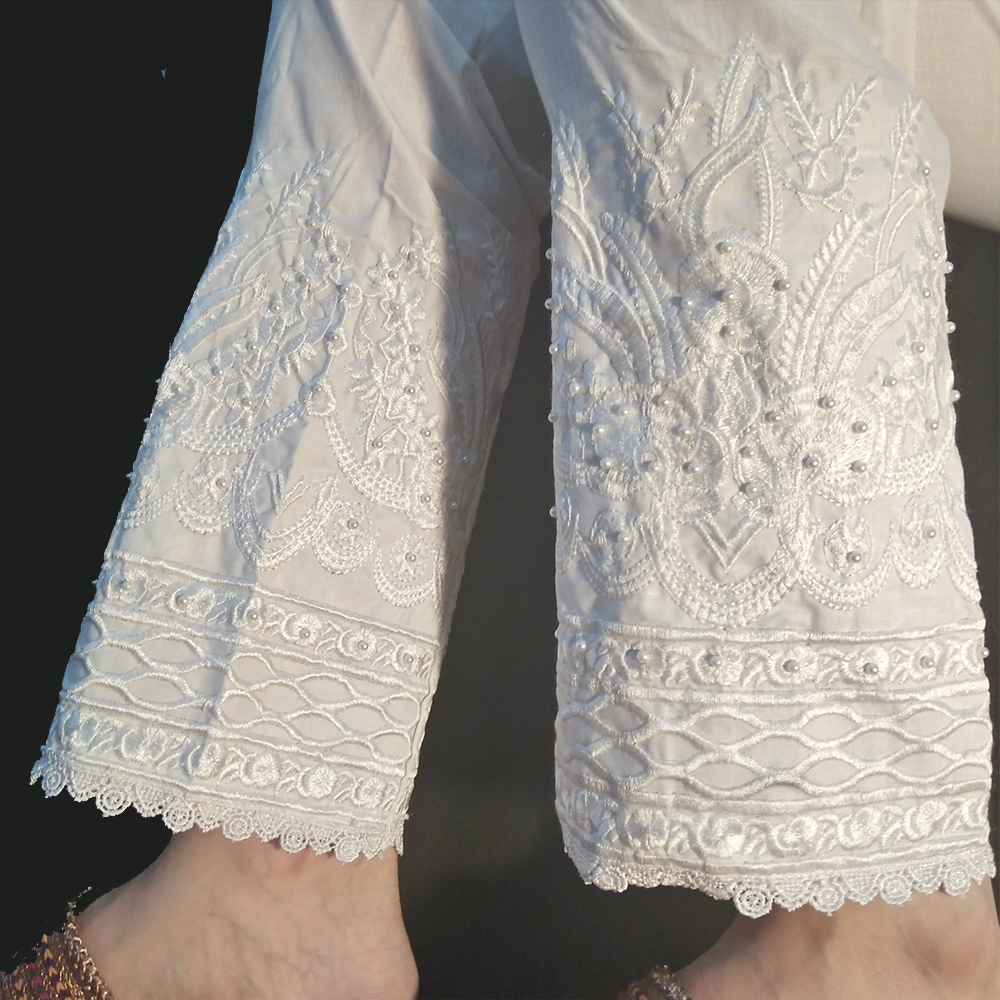White Embroided Trouser Pant 1