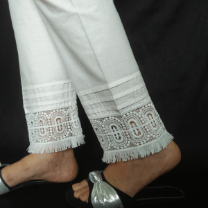 White - Pure Cotton Trouser Pant With Bottom White - Pure Cotton Trouser Pant With Bottom