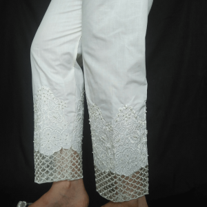 Heavy Embroidery And Beads Work - White
