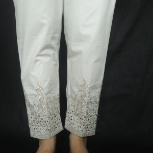Cut Work - Embroided Trouser Pant For Ladies - Beige