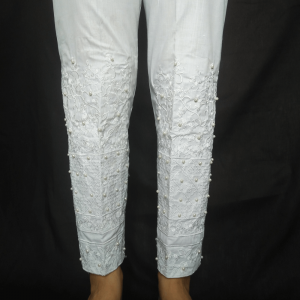 Full Embroided Pant For Women With Beads Work - White