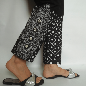 Full Embroided Trouser Pant For Women With Beads Work - Black