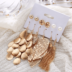 6 piece Earring Set includes Stud Earring and Drop Earrings