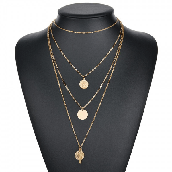 1 AN123 Multi Layer Necklace For Women Ladies Girls Party Wedding – Gold