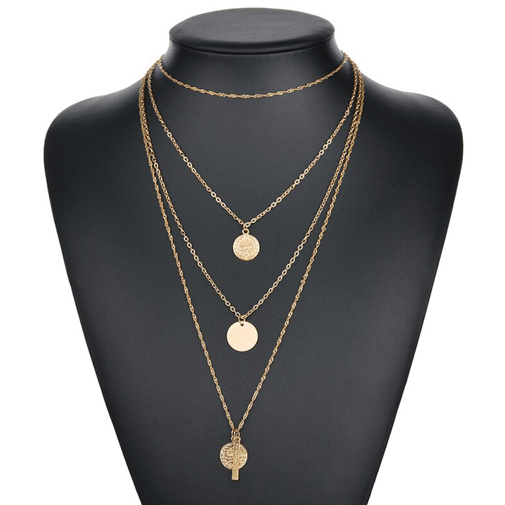 AN123 Multi Layer Necklace For Women Ladies Girls Party Wedding - Gold