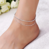 1 ANK32 Double Chain Anklet Jewelry For Women Sparkling Glowing – Silver